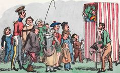 Punch at the Glasgow Green Fair in 1825 by William Heath Glasgow Green, Tarot, Everyday English, Punch And Judy, Red And White Stripes, Victorian Era, Puppets, Thriller, Cartoon