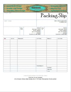 Custom Header Packing Slip for your Business! Use your Etsy Shop Banner! Professional Packing Slip Microsoft Word Compatible Edit Your Info https://www.etsy.com/shop/GraphicalSolutions