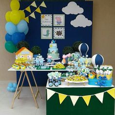 Discover recipes, home ideas, style inspiration and other ideas to try. Second Birthday Boys, Birthday Themes For Boys, Boy Birthday Parties, Birthday Party Decorations, Peppa E George, George Pig Party, Bolo Da Peppa Pig, Peppa Pig Birthday Cake, Aniversario Peppa Pig