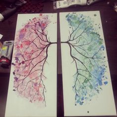 My art . #Watercolour style #lungs painting for my dining room... #hannibal lol inspired by another pin. I am learning to sing classically so am sort of obsessed with lungs and the diaphragm. Art by Alisha