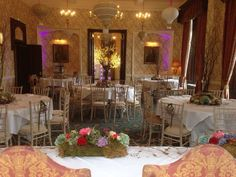 Willow Tree Table Centres at Rowton Castle by Lavender Blue Events.