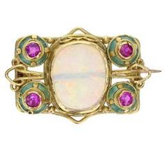 17b9b10683d Arts and Crafts Opal Ruby Enamel Gold Brooch Examples Of Art, Carat Gold,  Jewelry