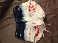 DIY bleached high-waisted shorts. Fake Red strip pockets for 4th of July. Can be taken off and put back on.