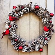 Large Snowy Pinecone Wreath with Cardinals by jeremiahdesigns, $40.00