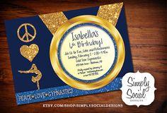 Blue Kid's Peace Love Gymnastics Birthday Party Invitation with Glitter Printable