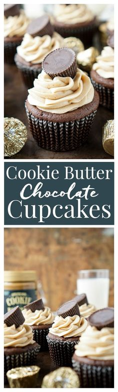 Cookie Butter Chocolate Cupcakes - Rich, sweet, and easy to make! An adapted cake box mix makes up the moist cupcakes and then they're topped with a silky smooth cookie butter frosting and a cookie butter cup!