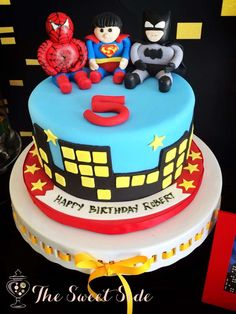 Awesome cake at a Super Hero Birthday Party!  See more party planning ideas at CatchMyParty.com!