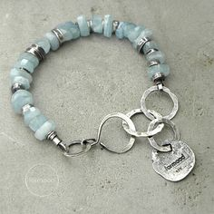 Sterling silver and aquamarine bracelet by studioformood on Etsy