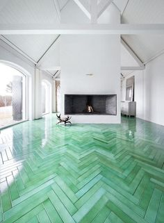 Green tinted polyurethane floor?