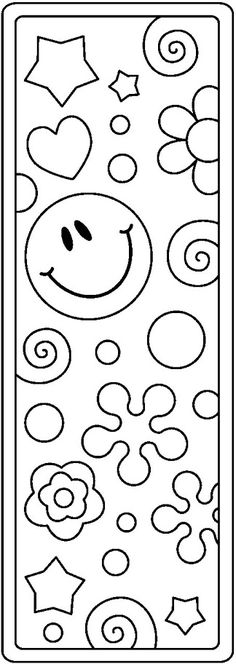 bookmark clipart black and white Coloring Book Pages, Printable Coloring Pages, Coloring Sheets, Adult Coloring, Bookmarks Kids, Crochet Bookmarks, Marque-pages Au Crochet, Kids Library, Smiley