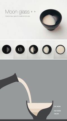 Moon Glass @Leafcutter Designs Designs Designs Designs: Korean design studio Tale Co. created this clever sake cup that displays the different phases of the Moon as you drink: