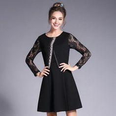 Lace Sleeve Layered 2 in 1 Dress Women Beaded Plus Size Dresses Spring 2017 Black, Pink l to 4xl 5xl