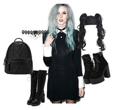 """""""Wednesday Addams Goth"""" by leajoysw ❤ liked on Polyvore featuring Kill Star, Piers Atkinson, goth and WednesdayAddams"""