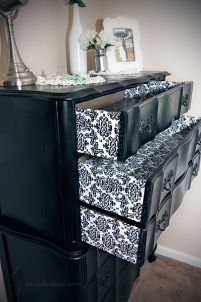 Dresser re-do using black damask wrapping paper & Mod Podge, how-to.