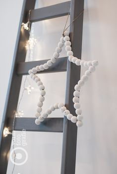 DIY star. Could do this in any colour wooden beads, even pastel! Or Pom poms! For J x