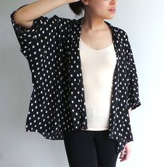 Kimono jacket black and white