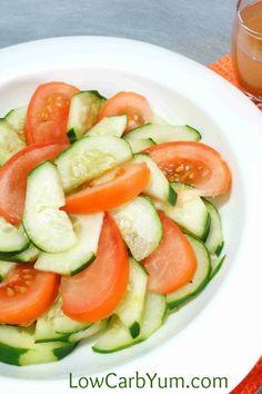 Low carb tomato cucumber vinegar salad tall