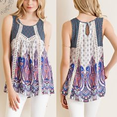 Spotted while shopping on Poshmark: CHARLOTTE print tank w/ lace detail - NAVY mix! #poshmark #fashion #shopping #style #Bellanblue #Tops