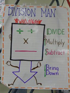 Division Man! A helpful chart for remembering the steps of long division. Students could make their own, or the students could work together to make a classroom Division Man. 4462
