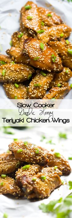 Forget the fryer with these Slow Cooker Garlic Honey Teriyaki Chicken Wings! Filled with Asian flavors of garlic, honey, ginger and soy sauce, these wings are the perfect appetizer or light dinner! (cook chicken in crockpot veggies) Teriyaki Chicken Wings, Asian Chicken, Teriyaki Sauce, Slow Cooker Recipes, Cooking Recipes, Crockpot Recipes, Crockpot Veggies, Dinner Crockpot, Asian Recipes