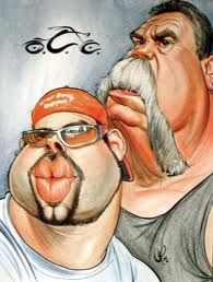 Orange County Choppers Paul Senior And Paul Jr. Funny Caricatures, Celebrity Caricatures, Cartoon Kunst, Cartoon Art, Cartoon Faces, Funny Faces, Orange County Choppers, Caricature Drawing, Funny Illustration