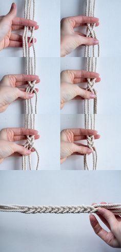DIY macrame hanging planter - fishtail braid