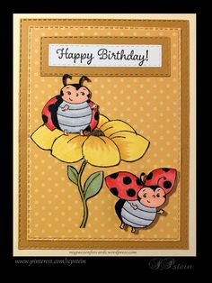 "Little Ladybug <br> Birthday card created with Stampin' Up Little Ladybug. The layers, SU Delightful Dijon and ""Basics"" by Pebbles, were cut with SU Rectangle Stitched Framelets, as were the sentimen… Happpy Birthday, Masculine Birthday Cards, Masculine Cards, Bee Cards, Kids Birthday Cards, Fun Fold Cards, Stamping Up Cards, Animal Cards, Copics"