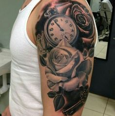 Awesome clock and rose tattoo