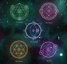 Alchemy 5 by Ennoea on DeviantArt Magic Symbols, Ancient Symbols, Wicca, Magick, Magia Elemental, Sacred Geometry Symbols, Magic Circle, Tattoos, Alan Lee