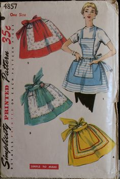 Vintage Apron Pattern Simplicity 4857 by olivealley on Etsy Half Apron Patterns, Vintage Apron Pattern, Retro Apron, Vintage Sewing Patterns, Sewing Crafts, Sewing Projects, Patron Vintage, Cute Aprons, Sewing Aprons