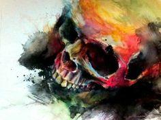 watercolour rainbow skull