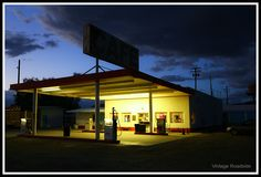 Darkness falls along Route 66 at Roy's in Amboy, California.