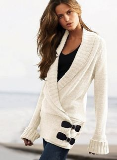 knitted sweaters. with leggings and boots. except I don't like wide sleeves. how are you supposed to get anything done?!