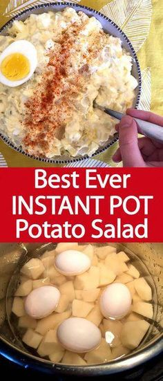 This Instant Pot potato salad recipe is truly life-changing! Best ever potato sa… This Instant Pot potato salad recipe is truly life-changing! Best ever potato salad in less than 30 minutes from start to finish! I'll never make potato salad any other way! Making Potato Salad, Best Ever Potato Salad, Potato Salad With Egg, Best Instant Pot Recipe, Instant Pot Dinner Recipes, Instant Recipes, Instant Pot Meals, Instant Pot Veggies, Instant Pot Pressure Cooker