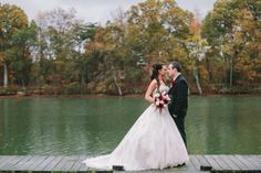 Fall Bridal Portraits on a Dock on the Lake | Woodlawn Farm, Maryland Wedding | Birds of a feather Photography