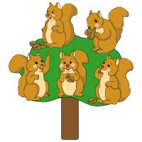 Five Little Squirrel rhymes with printable