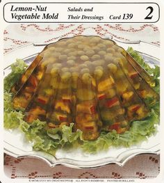 lemon nut vegetable mold in gelatin aspic vintage recipe card  this contains lemon flavored gelatin onion salt walnuts celery cucumber radishes and cooked peas