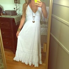 Free People gauze white dress NWOT, never worn! Adorable white summer gauze dress by Free People. Lace crochet insets, double back ties, gorgeous dress! Just a tad too big in the bust for me, I am an A cup. Free People Dresses Maxi