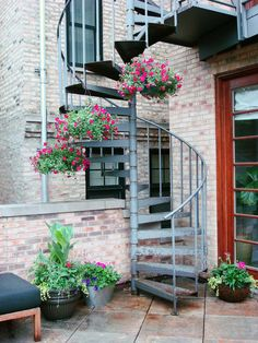 summer, annuals, hanging baskets, spiral stairs, urban, garden, landscape, design, roof deck