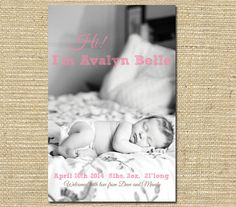Baby Girl Birth Announcement -  Custom Photo Birth Announcement - Printable File -  Pink