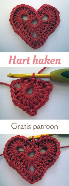 Makkelijk haakpatroon van een hart. Onderdeel van een kerstslinger van katoen (op de site staan ook patronen van een kerstboom, ster en sneeuwvlok). Gratis en Nederlands patroon.