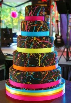 Neon Graduation cakes   Cute idea! Neon birthday party for the girls...cake downsized!
