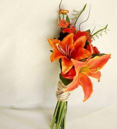 Orange Tiger Lillies bridesmaid Ideas | Tropical Orange Bridal Bouquet Silk Orange Tiger Lilly pinned with ...