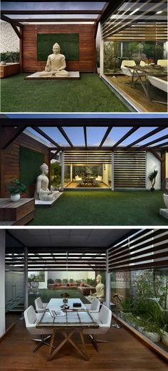 This Office with Terrace Garden is Brilliantly Designed - Terrasse Terrace Garden Design, Rooftop Terrace Design, Balcony Design, Rooftop Garden, Terrace Ideas, Garden Ideas, Terraced Backyard, Terraced Landscaping, Architecture Courtyard