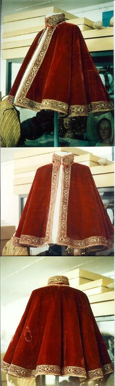 Red Velvet Compass cloak with Gold work 1560-1580 Janet Arnold p35. Front/ Back / Side Views