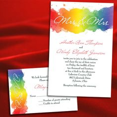 Custom Rainbow/Gay/Lesbian Watercolor Wedding Invitations. $3.95, via Etsy.