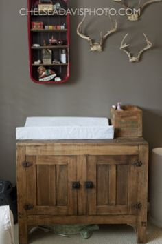 dresser with antlers