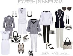 """ETCETERA Summer 2013 - Black White Wow"" by wiserjane ❤ liked on Polyvore"