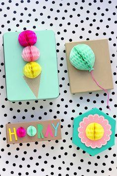 #DIY#Honeyomb Gift Toppers www.kidsdinge.com   http://instagram.com/kidsdinge https://www.facebook.com/pages/kidsdingecom-Origineel-speelgoed-hebbedingen-voor-hippe-kids/160122710686387?sk=wall #kids #kidsdinge #toys #speelgoed