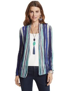 Chico's Women's Carys Striped Cardigan Sweater